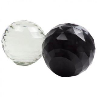 Pair of Faceted Glass Crystal Balls