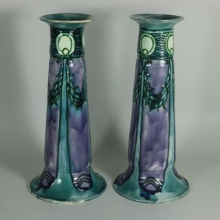 Pair of Purple Minton Secessionist Vases