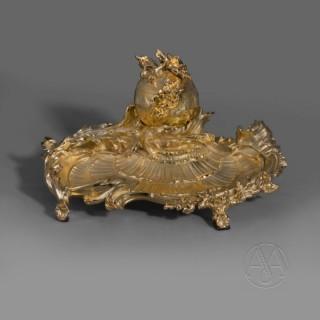 A Rare Louis XV Style Gilt-Bronze Encrier