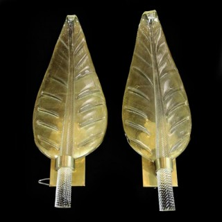 A Pair of Murano Glass Leaf-Form Wall Lights