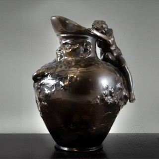 An Art Nouveau Bronze Figural Ewer Modelled With A Water Nymph by Auguste Ledru