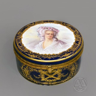 A Sèvres-Style Dark Blue Ground Gilt Metal Mounted Circular Box and Cover