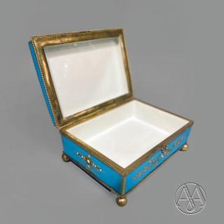 A Gilt-Bronze Mounted Turquoise Sèvres Porcelain Rectangular Jewellery Casket