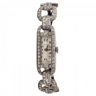 Boucheron Art Deco Platinum and Diamond Watch 2.50 Carat
