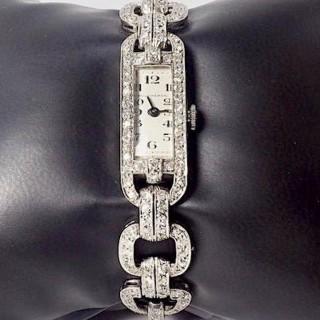 Boucheron Art Deco Platinum and Diamond Watch 2.50 Carat