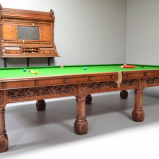 Gothic Billiard Table, Scorer and Cue Rack Suite