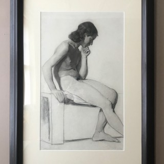 A Fine Life drawing of a Seated Male Nude