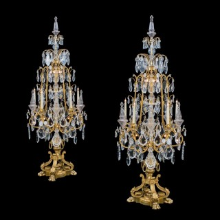 A Magnificent Pair of Louis XV Style Ormolu & Crystal Girandoles Probably by Baccarat