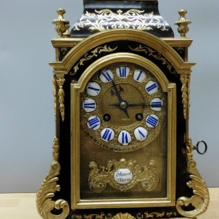 French Tortoiseshell Boulle Clock by Thuret, Paris