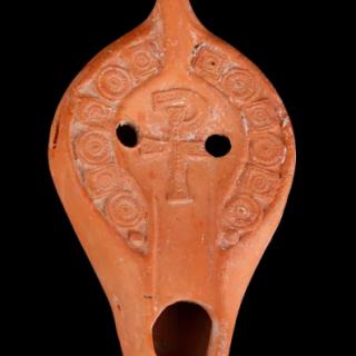 Roman Oil Lamp with Staurogram