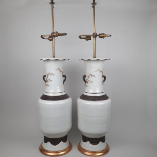 A large pair of Chinese vases converted into lamps