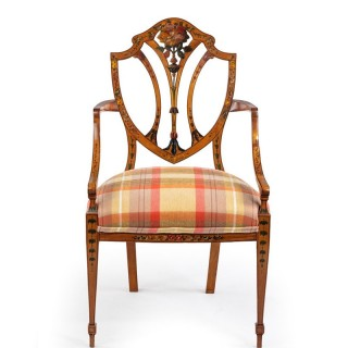 A late Victorian Sheraton revival painted satinwood arm chair