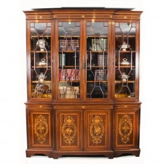 Antique Inlaid Four Door Breakfront Bookcase by Edwards & Roberts 19th C
