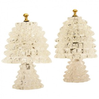 Beautiful Pair of 1940s Barovier and Toso Lamps