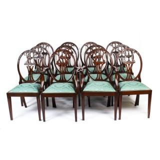Antique Set 12 Hepplewhite Mahogany Dining Chairs 19th Century