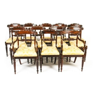 Antique Set 12 William IV Dining Chairs, att. to Gillows C1820 19th C