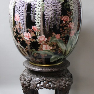 A superb Japanese cloisonné vase with original carved wood base