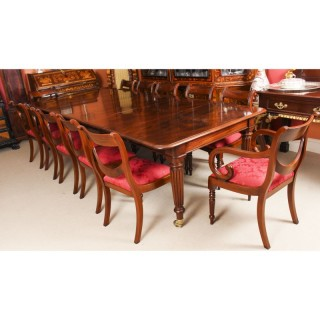 Antique Regency Flame Mahogany Dining Table & 12 chairs 19th C