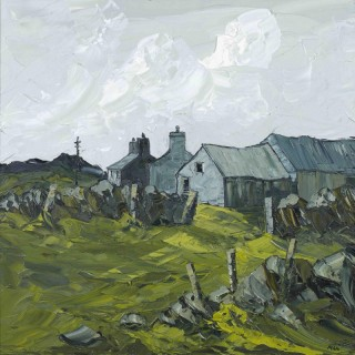 'The Old Barns on Top of the Hill' by Welsh artist Martin Llewellyn