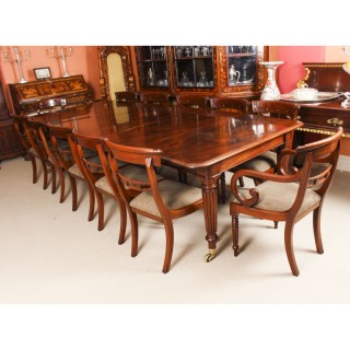 Antique Regency Dining Table & 12 bar back chairs 19th C
