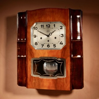 An Art Deco Westminster Girod Carillon Walnut and Fruit Wood Wall Clock French circa 1940