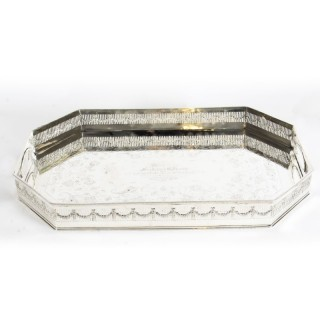 Antique Edwardian Silver Plated Gallery Tray Circa 19th Century