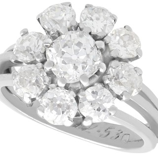 3.05 ct Diamond and Palladium Cluster Ring - Antique and Vintage