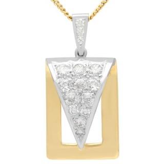 1.05 ct Diamond and 18 ct Gold Pendant - Vintage Circa 1960