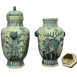 A PAIR OF LARGE CHINESE VASES WITH COVERS