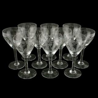 Set of 10 Cut Wine Glasses