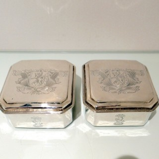 17th Century Antique Charles II Sterling Silver Pair Toilet Boxes London 1683 Anthony Nelme