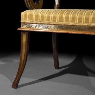 Fine Regency Brass Inlaid Armchair, in the Manner of George Oakley