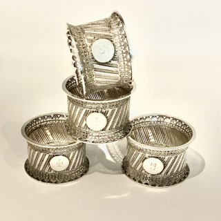 Set of Four Silver  Napkin Rings