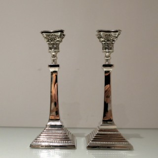 Early 20th Century Antique George V Sterling Silver Candlesticks Birmingham 1913 Britton, Gould & Co