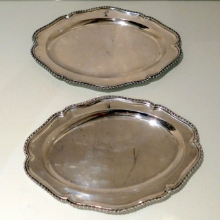 Antique George III Sterling Silver Pair Meat Dishes London 1768 Francis Butty & Nicholas Dumee