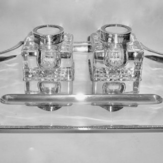 Large Heavy Silver Inkstand