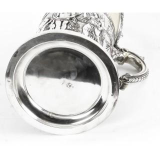 Antique Huge Silver Plated Lidded Tankard by Elkington 19th C