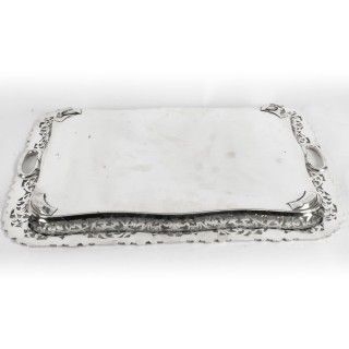 Antique Large English Silver Plated Twin Handled Tray C1860 19th Century