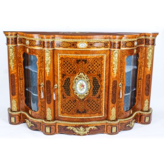 Antique French Kingwood & Marquetry Serpentine Credenza c.1870 19th C