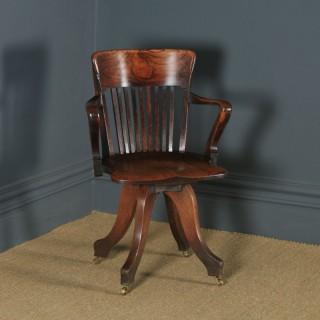Antique English Victorian Oak & Ash Revolving Office Desk Arm Chair (Circa 1900)