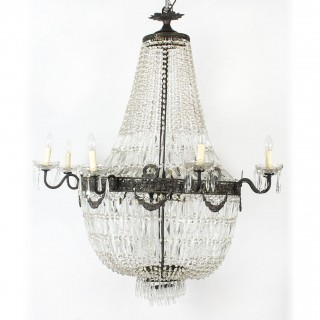 Antique Louis Revival 20 light Ballroom Cut Crystal Tent Chandelier c1920