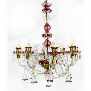Antique Venetian Eight Light Cranberry Crystal Chandelier Circa 1900