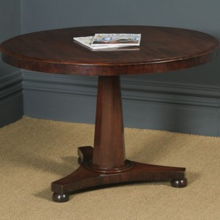 Antique English Victorian Mahogany Circular Round Centre / Occasional / Dining Table (Circa 1840)