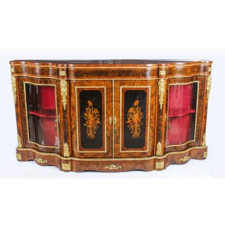 Antique Victorian Burr Walnut & Marquetry Serpentine Credenza c.1860 19th C