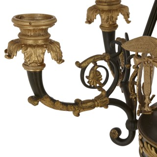 French Empire style ormolu and bronze chandelier