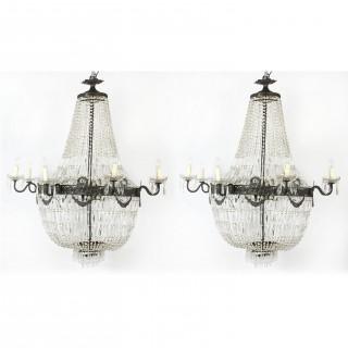 Antique Pair Louis Revival 20 light Ballroom Cut Crystal Tent Chandeliers c1920