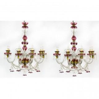 Antique Pair of Venetian 8 Light Crystal Cranberry Chandeliers C1900