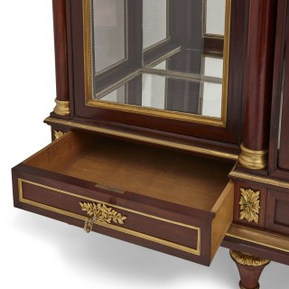 Large French Neoclassical style gilt bronze and wood display cabinet