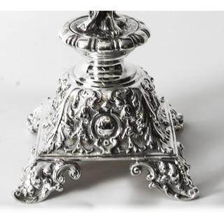 Antique 72cm Victorian Figural Silver Plate Centrepiece C1880 19th C