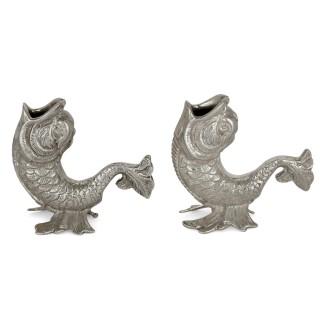 Rare pair of Egyptian silver candlesticks